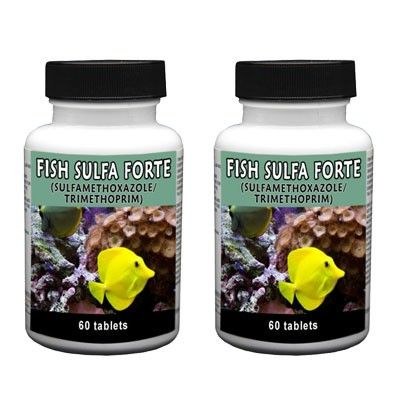 Fish Sulfa Forte - 60 Count (Sulfamethoxazole 800Mg, Trimethoprim 160Mg) - 2 Pack