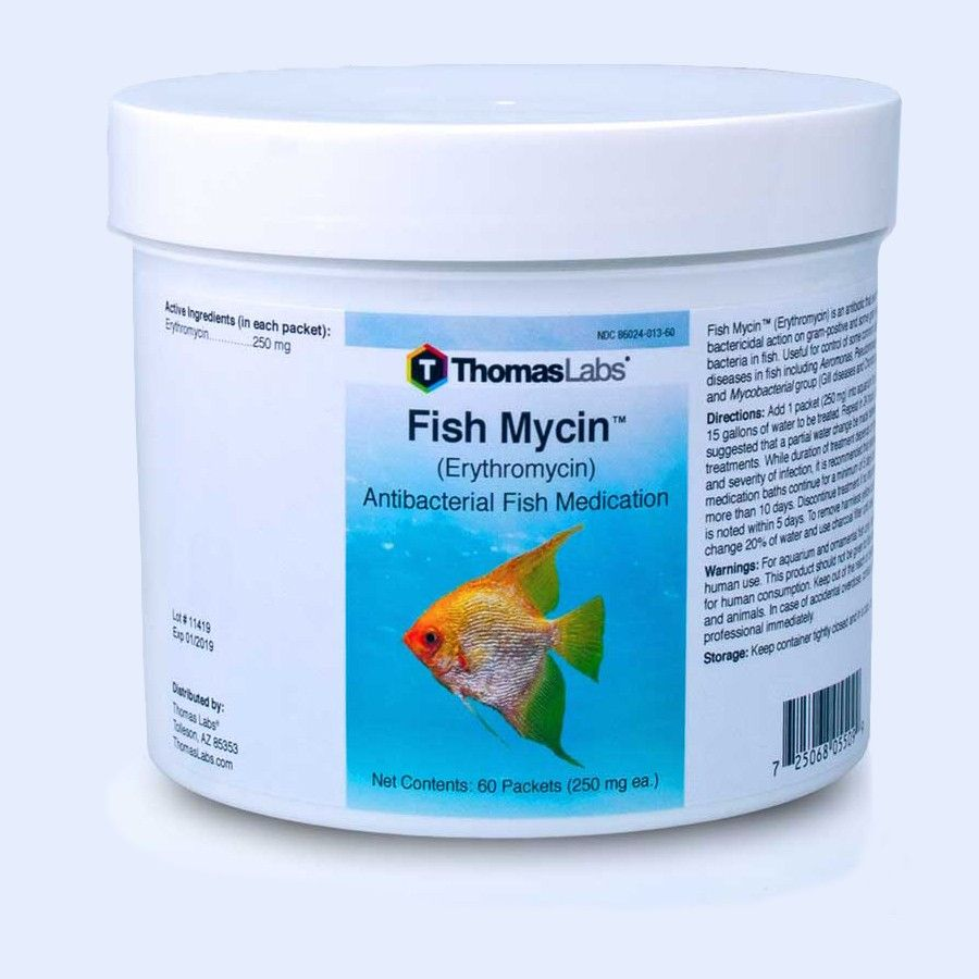 Fish Mycin Powder Packets - Erythromycin 250Mg (60 Count)